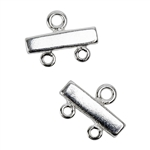 Sterling Silver Spacer Bar Connector - 2 Hole - 9.3 x 12.75mm - Pkg/2