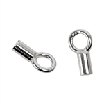 Sterling Silver Fancy Crimp End Cap 6.4mm - Pkg/2