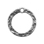 Silver Plate Charm - Hammered Circle 13.3mm Pkg - 1