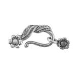 Silver Plate Hook & Eye Clasp - Leaf and Flower - 1 Set