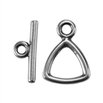 Silver Plate Mini Toggle Clasp - Trillion - 1 Set