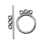 Silver Plate Toggle Clasp - 3 Strand Circle - 1 Set