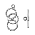 Sterling Silver Mini Toggle Clasp - 3 Rings 9mm - 1 Set