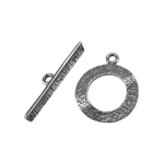 Silver Plate Mini Toggle Clasp - Textured Ring - 1 Set