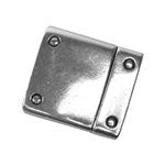 Antique Silver Plate Magnetic Leather Clasp - Flat Rivet 15mm
