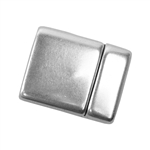 Antique Silver Plate Magnetic Leather Clasp - Flat Rounded 15mm - 1 Set