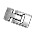 Antique Silver Plate Magnetic Leather Clasp - Flat T Latch 13mm - 1 Set