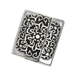 Antique Silver Plate Magnetic Leather Clasp - Flat Baroque 20mm - 1 Set