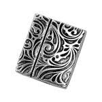 Antique Silver Plate Magnetic Leather Clasp - Flat Art Nouveau Flowers 20mm - 1 Set