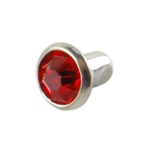 Silver Plate Snap Rivet - Czech Crystal Red 6mm - 2 Sets