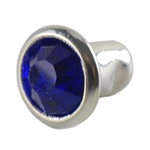 Silver Plate Snap Rivet - Czech Crystal Royal Blue 6mm - 2 Sets