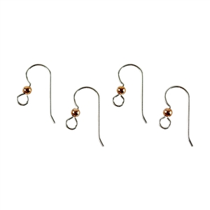 Sterling Silver Heavy Earwire with Loop and Copper Bead