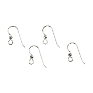 Sterling Silver Heavy Earwire with Loop and Silver Bead