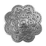 Antique Sterling Silver Plate Flat Leather Slider - Bali Flower 20mm