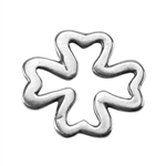 Silver Plate Jump Ring - Four Leaf Clover 12.2mm