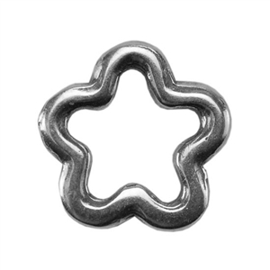 Silver Plate Jump Ring - Flower Small 8.8mm
