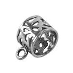 Sterling Silver Tube Bail with Ring - Filigree 9mm x 15.5mm Pkg - 1