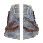 Laguna Lace Agate Gemstone - Pear Pendant Pair 18x46mm - Matched Pair