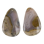 Laguna Lace Agate Gemstone - Pear Pendant Pair 12x44mm - Matched Pair