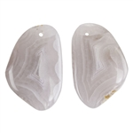 Laguna Lace Agate Gemstone - Pear Pendant Pair 12x35mm - Matched Pair
