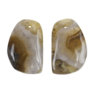 Laguna Lace Agate Gemstone - Freeform Cabochon 14mm x 22mm - Matched Pair