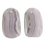 Laguna Lace Agate Gemstone - Freeform Cabochon 13mm x 21mm - Matched Pair