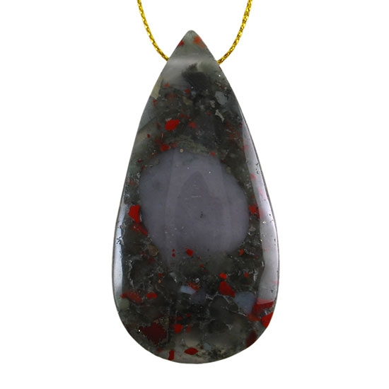Bloodstone Gemstone - Pear Pendant 31mm x 62mm Pkg/1