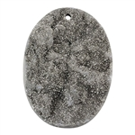 Titanium Electroplated Druzy Gemstone - Freeform Pendant 37mm x 49mm - Pak of 1