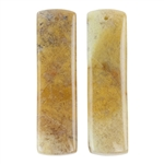 Polka Dot Agate Gemstone - Rectangle Pendants 11mm x 40mm - 1 Pair