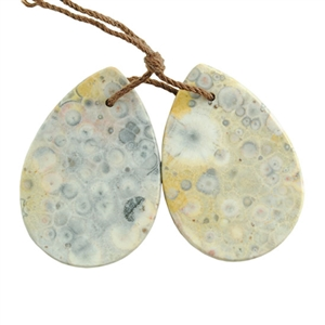 Orbicular Jasper Gemstone - Pendant Pear 21mm x 30mm Matched Pair