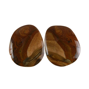 Royal Sahara Jasper Gemstone - Freeform Cabochon Pair 16x19mm - 1 Pair