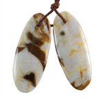 Natural Peanut Wood Gemstone - Pendant Oval 13mm x 32mm - Matched Pair