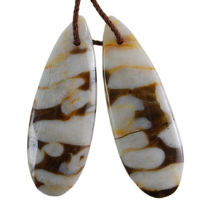 Natural Peanut Wood Gemstone - Pendant Pear 12mm x 33mm - Matched Pair