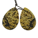 Crazy Horse Jasper Gemstone - Pear Pendants 20x30mm - 1 Pair
