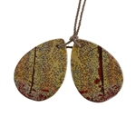 Crazy Horse Jasper Gemstone - Pear Pendants 21x30mm - 1 Pair