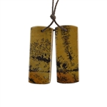 Crazy Horse Jasper Gemstone - Rectangle Pendants 13x34mm - 1 Pair