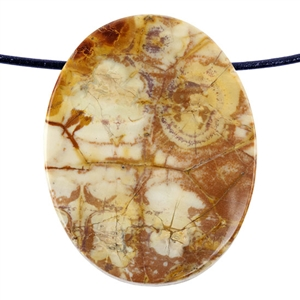 Birds Eye Rhyolite Gemstone - Oval Pendant 36mm x 45mm Pkg - 1