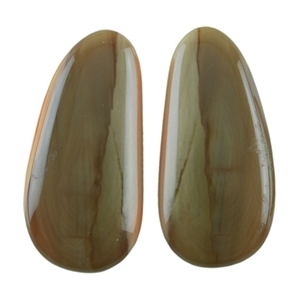 Natural Royal Imperial Jasper Gemstone - Cabochon Capsule 11mm x 24mm Matched Pair