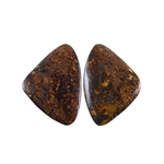 Natural Bronzite Gemstone - Cabochon Triangles 20x27mm - 1 Pair