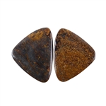 Natural Bronzite Gemstone - Cabochon Triangles 22x28mm - 1 Pair