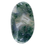 Natural Green Moss Agate Gemstone - Freeform Cabochon 19mm x 33mm Pkg - 1