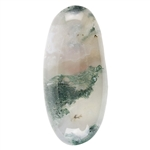 Natural Green Moss Agate Gemstone - Freeform Cabochon 14mm x 30.5mm Pkg - 1