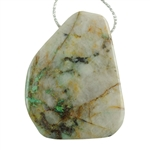 Chrysocolla in Quartz Gemstone - Freeform Drilled Pendant 30mm x 43mm Pkg - 1