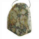 Chrysocolla in Quartz Gemstone - Freeform Drilled Pendant 30mm x 49mm Pkg - 1