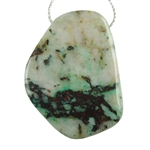 Chrysocolla in Quartz Gemstone - Freeform Drilled Pendant 31mm x 44mm Pkg - 1