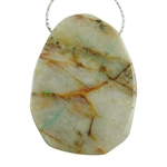 Chrysocolla in Quartz Gemstone - Freeform Drilled Pendant 27mm x 34mm Pkg - 1