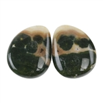 Ocean Jasper Gemstone - Cabochon Freeform 12mm x 15mm - Matched Pair