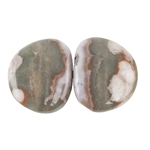 Natural Ocean Jasper Gemstone - Cabochon Freeform 13mm x 15mm - Matched Pair