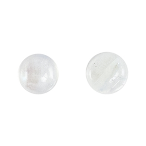 Rainbow Moonstone Gemstone - Cabochon Round 6mm - Matched Pair