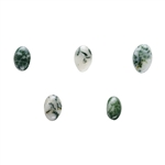 Christmas Tree Agate Gemstone - Oval Cabochon 4mm x 6mm - Pkg 2